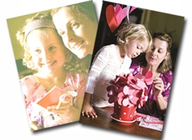 two examples of photos of a mother and daughter