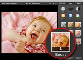 photo edit screen in iPhoto slideshow