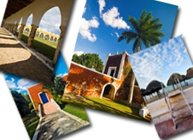 Four images of church in a tropical location