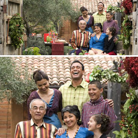 Before and after photos of family that illustrate cropping