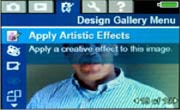 To use the slimming feature, select Apply Artistic Effects in the Design Gallery menu on your HP digital camera