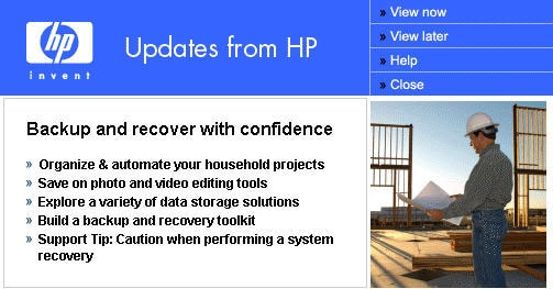 Updates from HP typical message