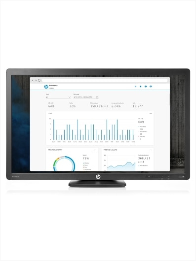 Computer monitor with HP 3D Center software screen