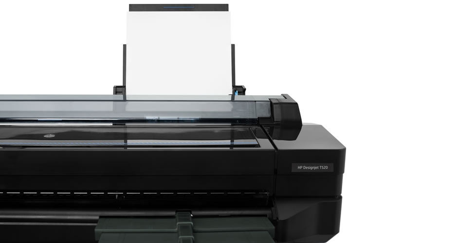 Close-up view of the HP DesignJet T520 Printer touchscreen display