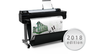 HP DesignJet T520 36-inch Printer with architectural drawing