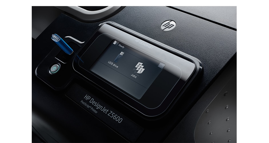 Close-up view of the HP DesignJet Z5600 PostScript® Printer showing the touchscreen display