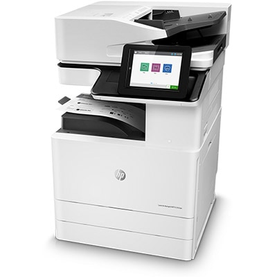 HP LaserJet Managed MFP E72525dn, left view, base unit, with paper