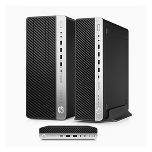 EliteDesk 800 Desktop Tower and Mini next to Elite Slice