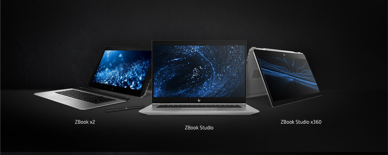 Zbook x2 open to the left,. zbook studio open facing front and zbook studio x360 in tent mode facing right