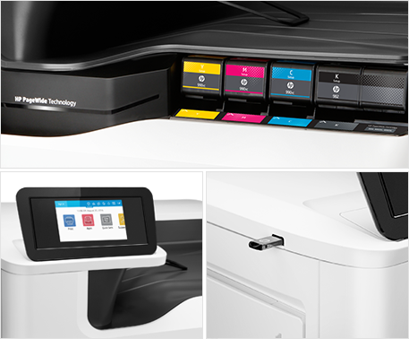 HP PageWide - toner, display, USB in