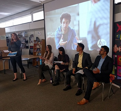 HP employees leading a career panel at TLK