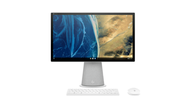 HP Chromebase 21.5 inch front view with wireless keyboard and mouse