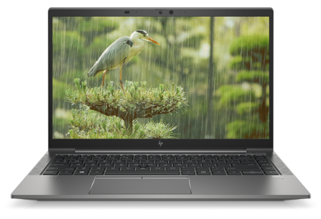 Front view of an HP ZBook Firefly showing a full-color display