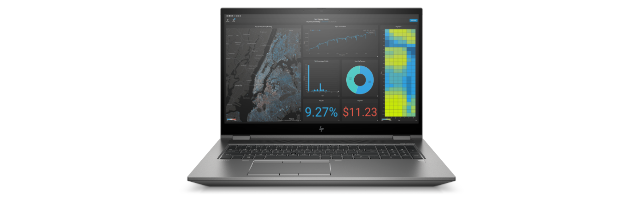 HP ZBook Fury G8 showing a data report on screen