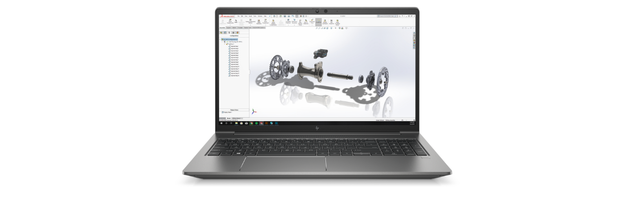 HP ZBook Power G8 showing a 3D model on screen