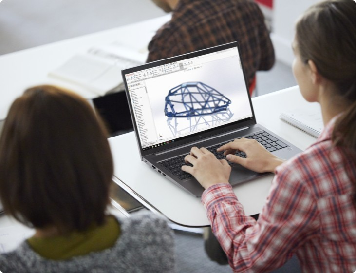 Student drawing a 3D model using an HP ZBook Power G8