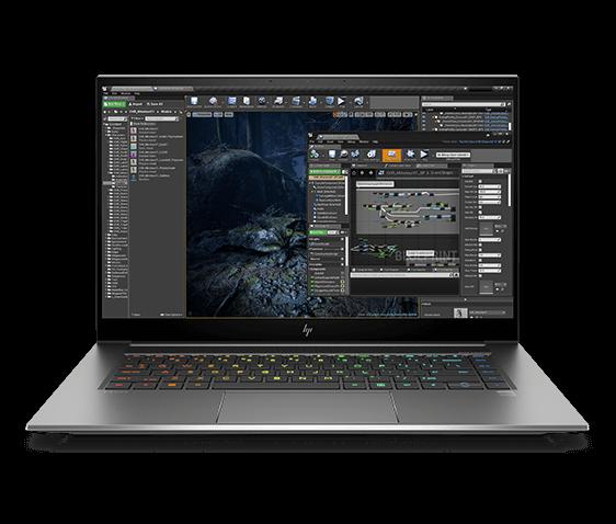 HP ZBook Studio G8 showing a 3D creation platform on screen