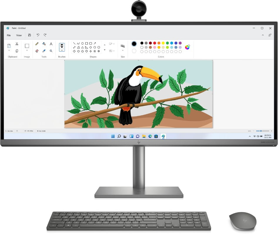 HP ENVY 34-inch All-in-One Desktop with the Paint program on screen