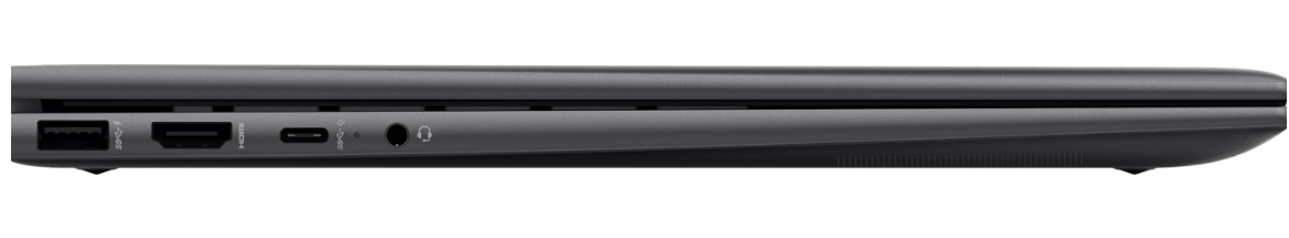 HP ENVY x360 15 (AMD) side view showing available ports