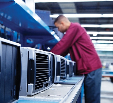 image of man on production line of CPUs