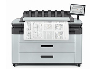 HP DesignJet XL 3600 Multifunction Printer front with printed output