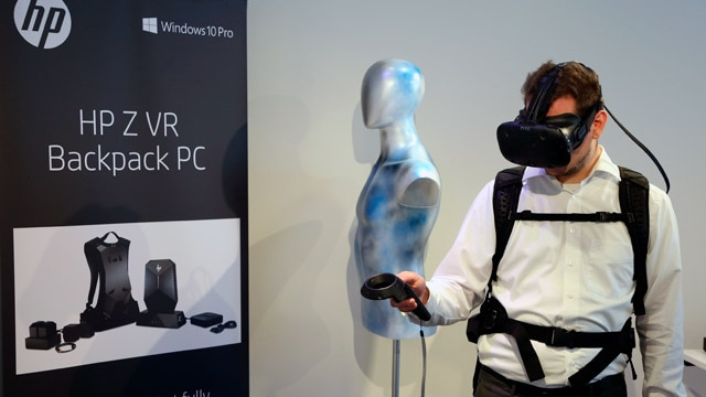 image of a person using an HP Z VR Backpack PC