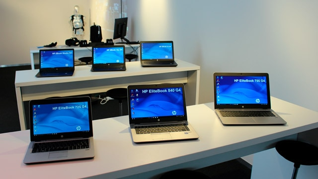 image of HP laptops in display