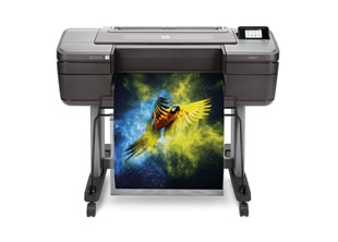 HP DesignJet Z3200 Photo Printer front with printed output
