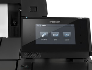 Close-up view of the HP DesignJet T1530 Printer showing the touchscreen display