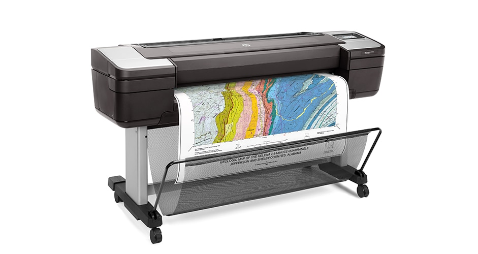 Right-facing view of HP DesignJet T1700 with colorful map output