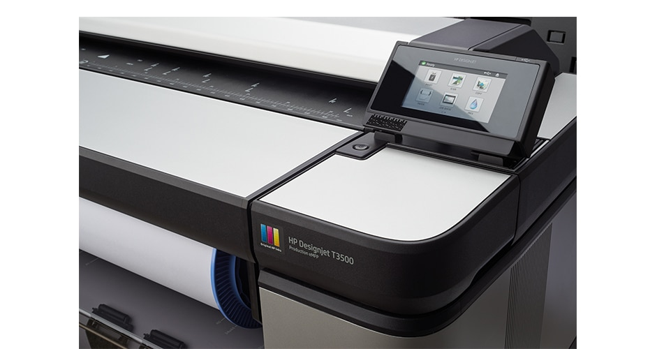 Close-up view of the HP DesignJet T3500 Production Multifunction Printer showing the touchscreen display