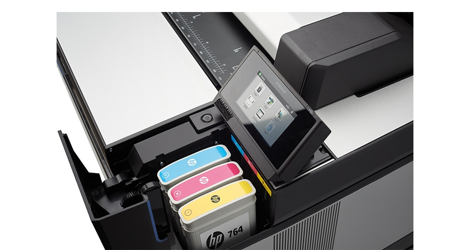 Close-up view of the HP DesignJet T3500 Production Multifunction Printer ink cartridges
