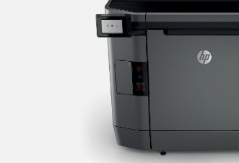 Close up of front corner of HP printer