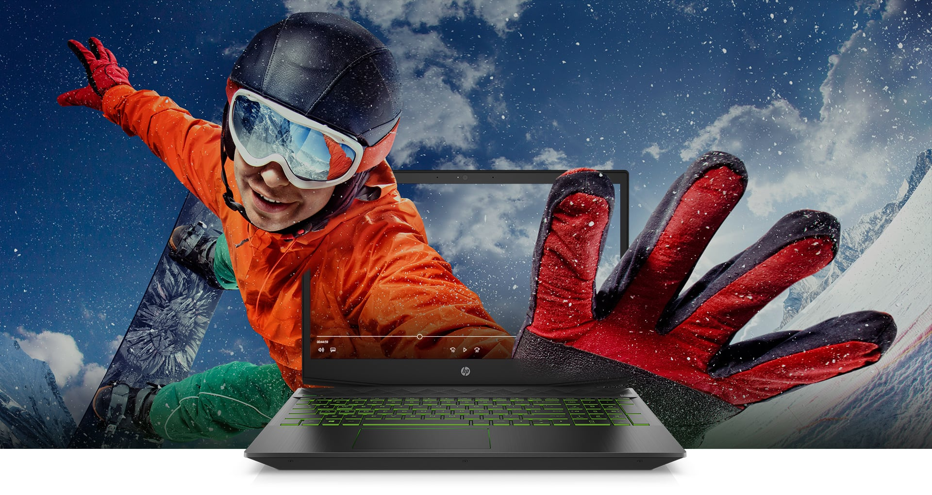 Pavilion Laptop  with skier overlay