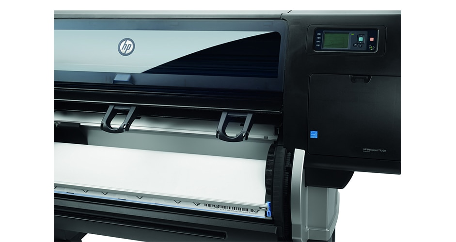 Close-up view of the HP DesignJet T7200 Production Printer