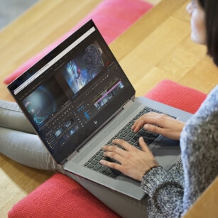 woman using powerful z workstation for video creation