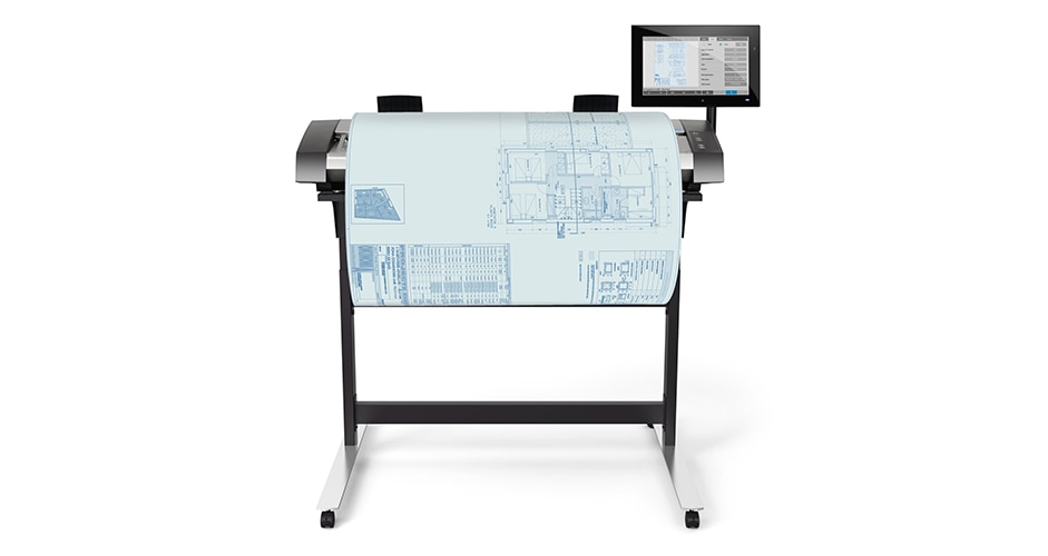 Front view of the HP HD Pro 2 Scanner with architectural drawing output