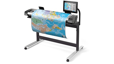Side view of the HP HD Pro 2 Scanner with maps drawing output