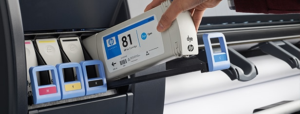 Close-up view of the HP DesignJet D5800 Production Printer ink cartridges
