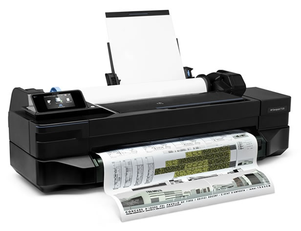 HP DesignJet T120 Printer with architectural drawing output