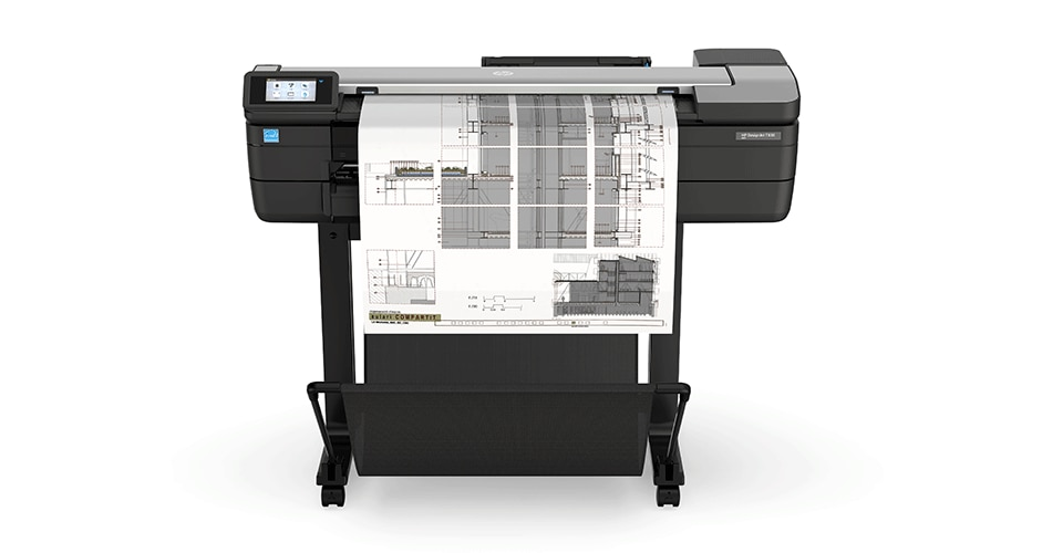 HP DesignJet T830 Printer with colorful city view output