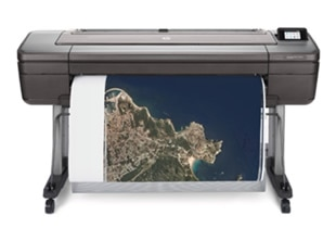 HP DesignJet Z2600 PostScript® Printer front with printed output