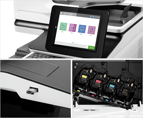 HP LaserJet Enterprise Flow MFPs with display showing security features, entry point and Original HP Toner cartridges