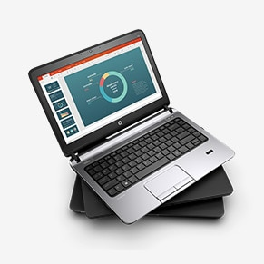 HP ProBook laptop for business with a graphical chart on the screen