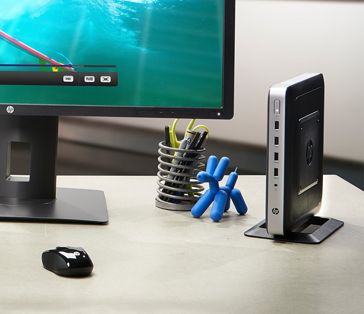HP Desktop cloud client, monitor and keyboard