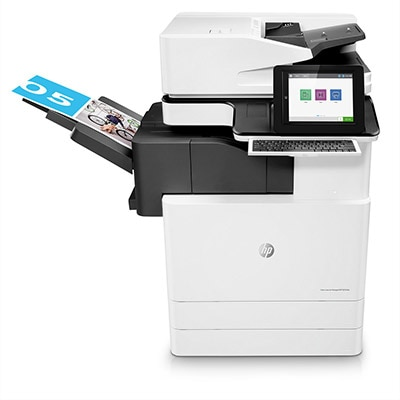 Stampante multifunzione HP Color LaserJet Managed Flow E87640z, vista centrale, unità di finitura interna, unità base, con carta