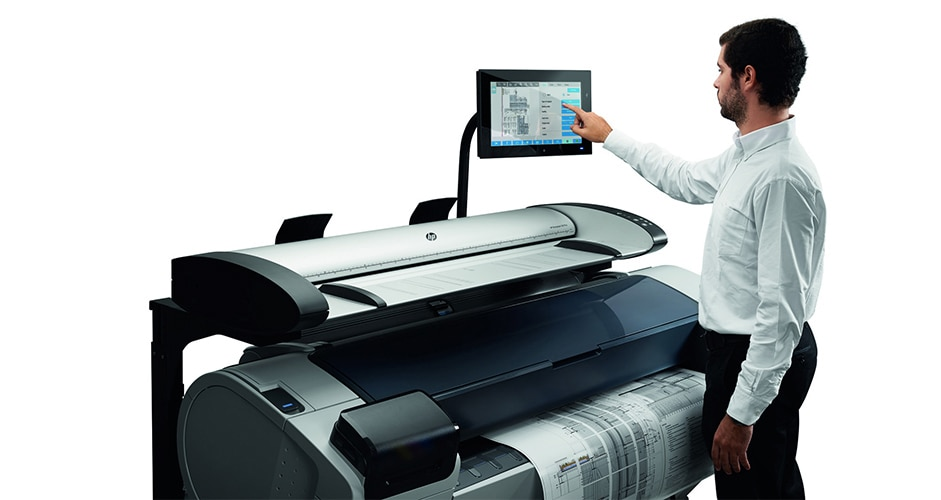 Technician printing from an HP SD Pro 44-in Scanner