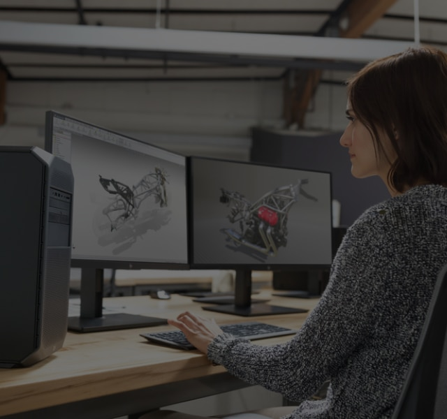 Product designer working at two monitors connected to a Z4