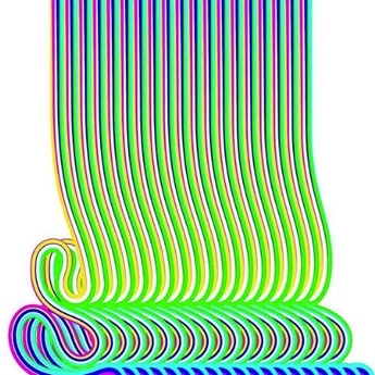 graphic art, color stripes bending at the end