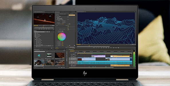 HP spectre 4K video editing open screen example